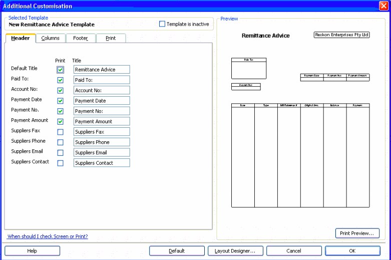 How to create a Remittance Advice template in Reckon Accounts