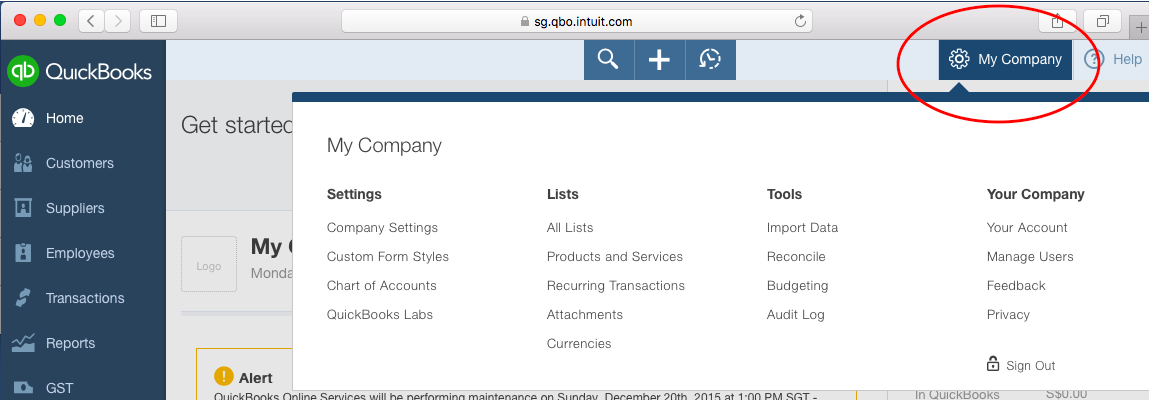 QuickBooks Online (QBO) – The Gear Icon | Solarsys
